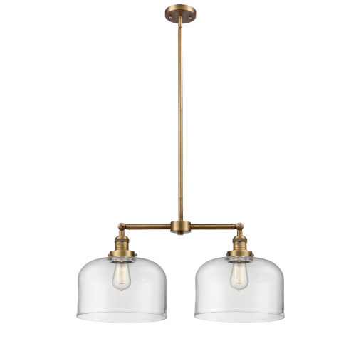 X-Large Bell Brushed Brass Two-Light Chandelier with Clear Glass