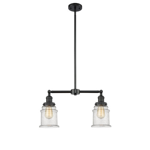 Franklin Restoration Matte Black 10-Inch Two-Light LED Chandelier with Seedy Canton Shade