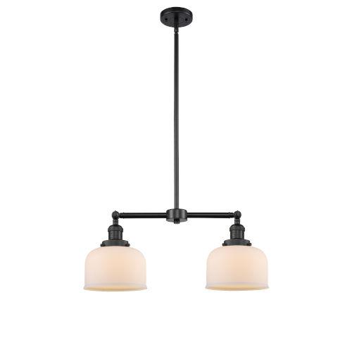 Large Bell Matte Black Two-Light LED Chandelier