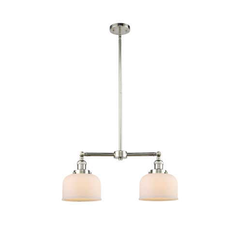 Large Bell Polished Nickel 21-Inch Two-Light Chandelier