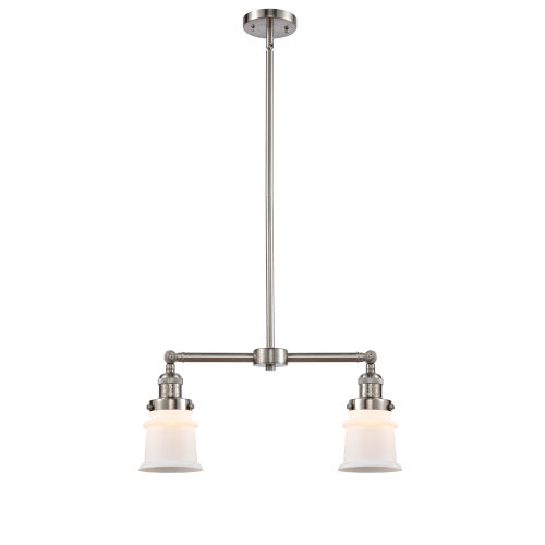 Franklin Restoration Brushed Satin Nickel 10-Inch Two-Light LED Chandelier with Matte White Small Canton Shade