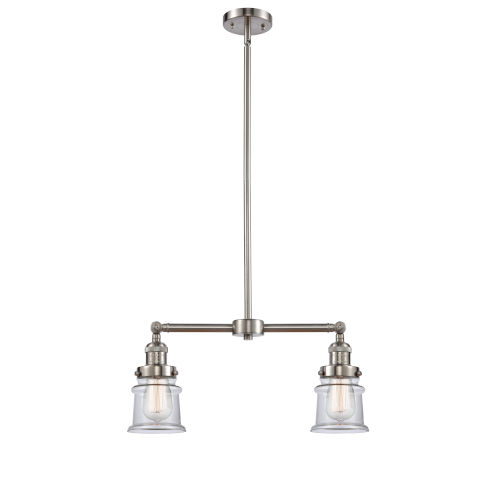 Franklin Restoration Brushed Satin Nickel 21-Inch Two-Light LED Chandelier with Small Clear Canton Shade