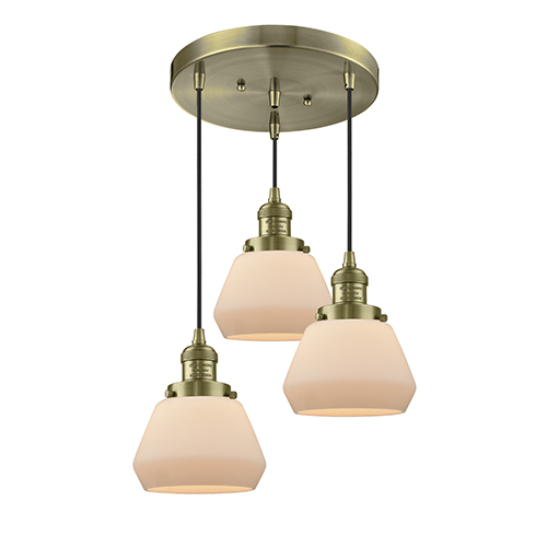 Innovations Lighting Fulton Antique Brass Three-Light Pendant with Matte White Cased Sphere Glass