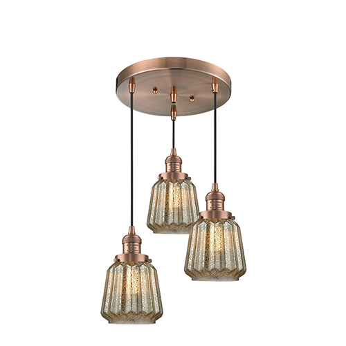 Innovations Lighting Chatham Antique Copper Three-Light Pendant with Mercury Fluted Novelty Glass