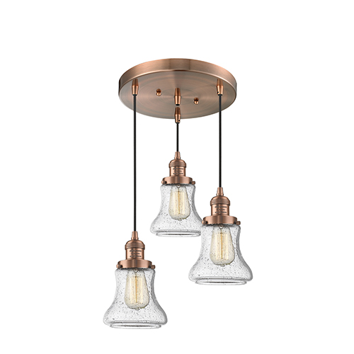 Bellmont Antique Copper Three-Light Pendant with Seedy Hourglass Glass