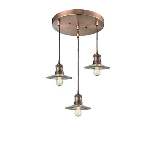 Innovations Lighting Halophane Antique Copper Three-Light Pendant with Halophane Cone Glass