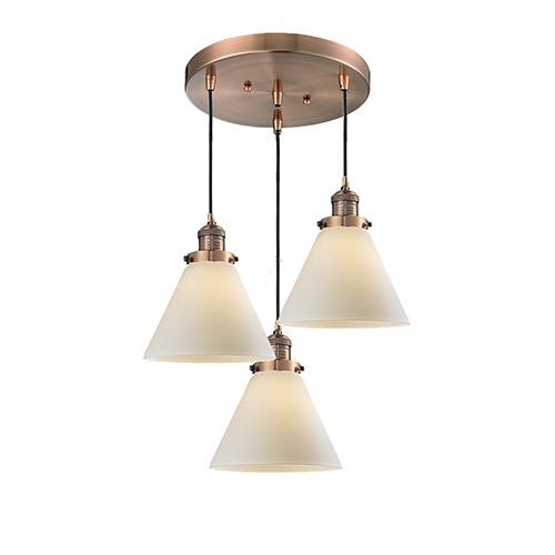 Innovations Lighting Large Cone Antique Copper Three-Light Pendant with Matte White Cased Cone Glass