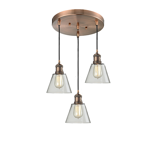 Innovations Lighting Small Cone Antique Copper Three-Light Pendant with Clear Cone Glass