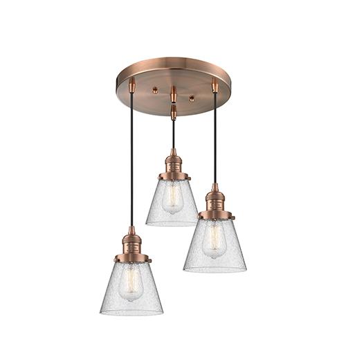 Small Cone Antique Copper Three-Light Pendant with Seedy Cone Glass