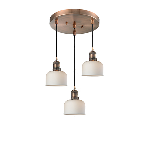 Innovations Lighting Large Bell Antique Copper Three-Light Pendant with Matte White Cased Dome Glass