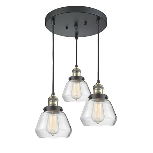 Innovations Lighting Fulton Black Antique Brass Three-Light Pendant with Clear Sphere Glass