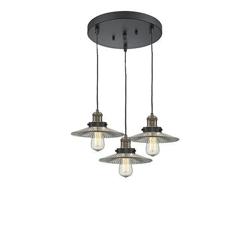 Innovations Lighting Halophane Black Antique Brass Three-Light Pendant with Halophane Cone Glass