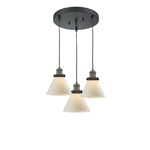 Innovations Lighting Large Cone Black Antique Brass Three-Light Pendant with Matte White Cased Cone Glass