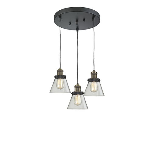 Innovations Lighting Small Cone Black Antique Brass Three-Light Pendant with Clear Cone Glass