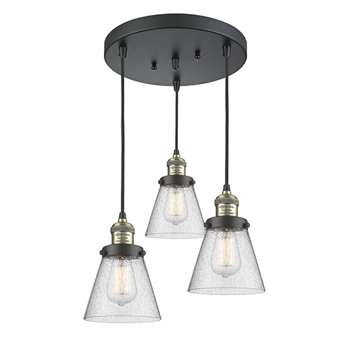 Innovations Lighting Small Cone Black Antique Brass Three-Light Pendant with Seedy Cone Glass