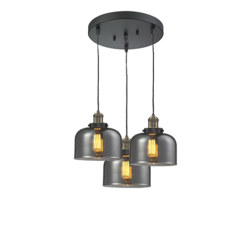 Innovations Lighting Large Bell Black Antique Brass Three-Light Pendant with Smoked Dome Glass