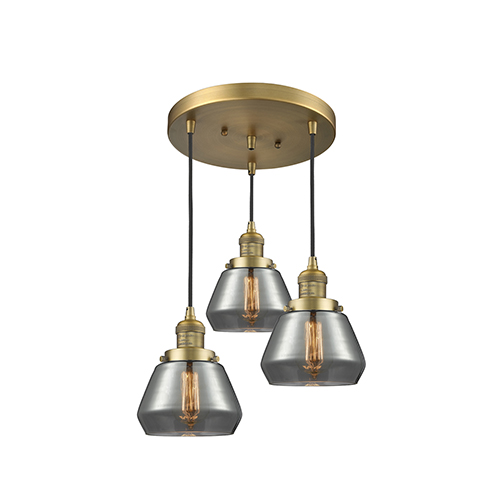 Innovations Lighting Fulton Brushed Brass Three-Light Pendant with Smoked Sphere Glass