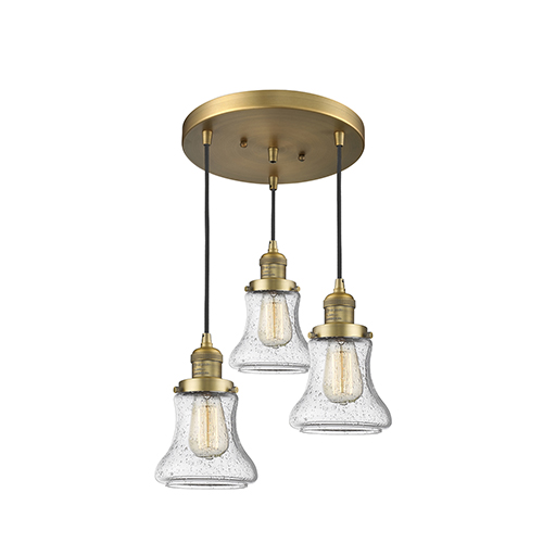 Innovations Lighting Bellmont Brushed Brass Three-Light Pendant with Seedy Hourglass Glass