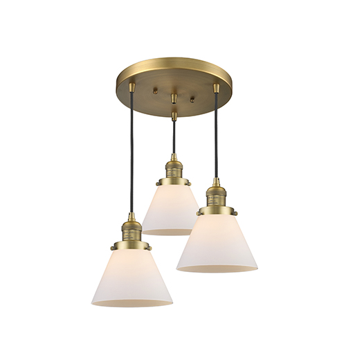 Innovations Lighting Large Cone Brushed Brass Three-Light Pendant with Matte White Cased Cone Glass