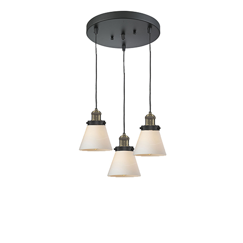 Innovations Lighting Small Cone Black Brushed Brass Three-Light Pendant with Matte White Cased Cone Glass
