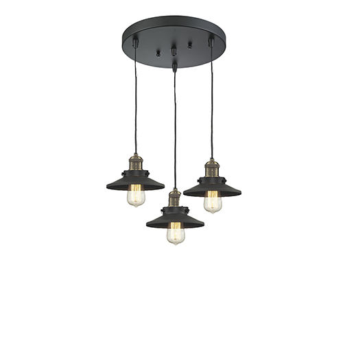 Innovations Lighting Railroad Black Brushed Brass Three-Light Pendant with Matte Black Metal Shade