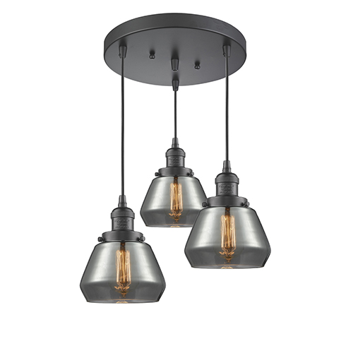 Fulton Oiled Rubbed Bronze Three-Light Pendant with Smoked Sphere Glass