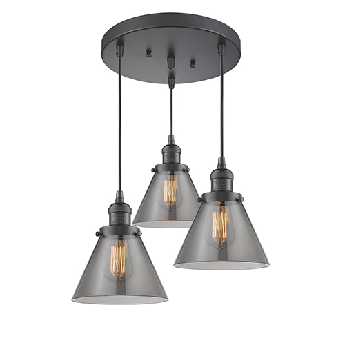 Innovations Lighting Large Cone Oiled Rubbed Bronze Three-Light Pendant with Smoked Cone Glass