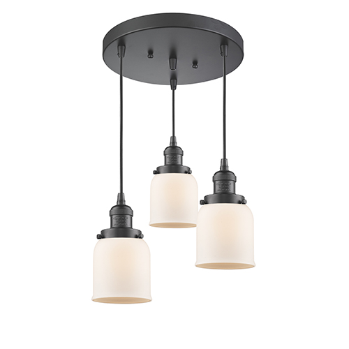 Innovations Lighting Small Bell Oiled Rubbed Bronze Three-Light Pendant with Matte White Cased Bell Glass