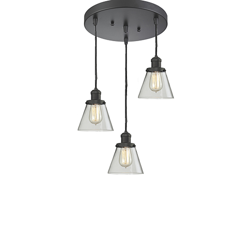 Innovations Lighting Small Cone Oiled Rubbed Bronze Three-Light Pendant with Clear Cone Glass