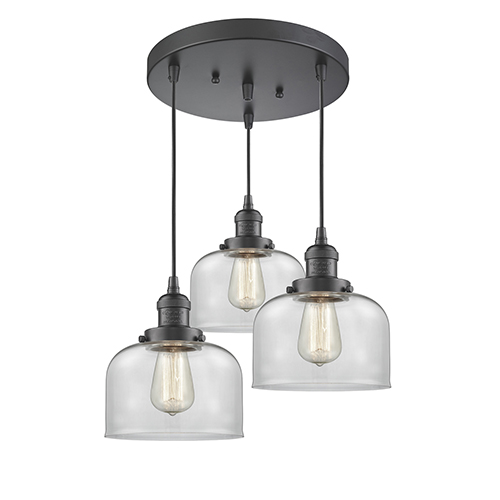 Innovations Lighting Large Bell Oiled Rubbed Bronze Three-Light Pendant with Clear Dome Glass
