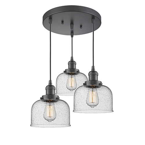 Innovations Lighting Large Bell Oiled Rubbed Bronze Three-Light Pendant with Seedy Dome Glass