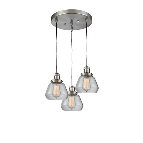 Innovations Lighting Fulton Brushed Satin Nickel Three-Light Pendant with Clear Sphere Glass