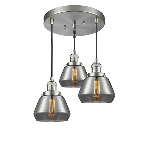 Fulton Brushed Satin Nickel Three-Light Pendant with Smoked Sphere Glass
