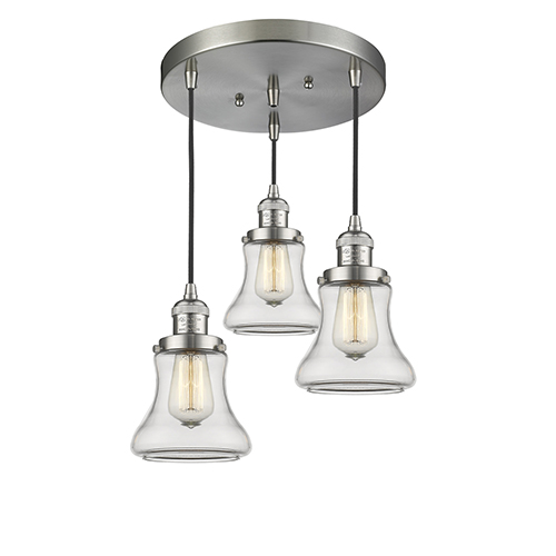 Bellmont Brushed Satin Nickel Three-Light Pendant with Clear Hourglass Glass