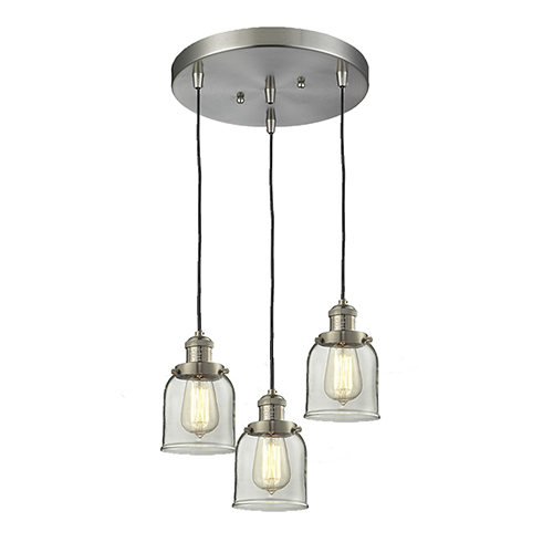 Innovations Lighting Small Bell Brushed Satin Nickel Three-Light Pendant with Clear Bell Glass