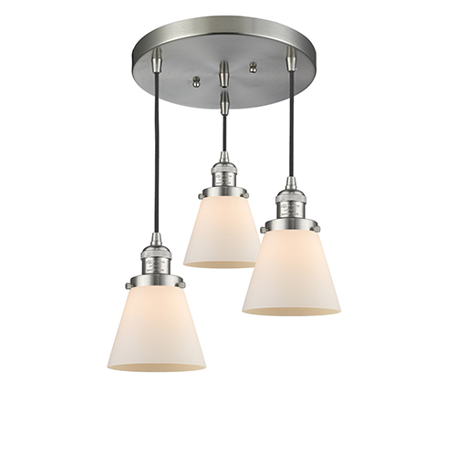 Innovations Lighting Small Cone Brushed Satin Nickel Three-Light Pendant with Matte White Cased Cone Glass
