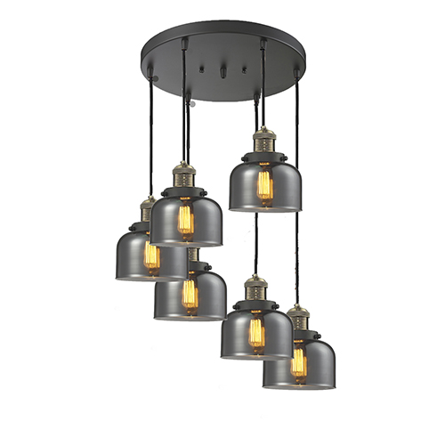 Innovations Lighting Large Bell Black Brushed Brass Six-Light Pendant with Smoked Dome Glass