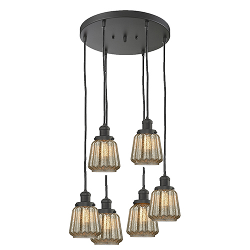 Innovations Lighting Chatham Oiled Rubbed Bronze Six-Light Pendant with Mercury Fluted Novelty Glass