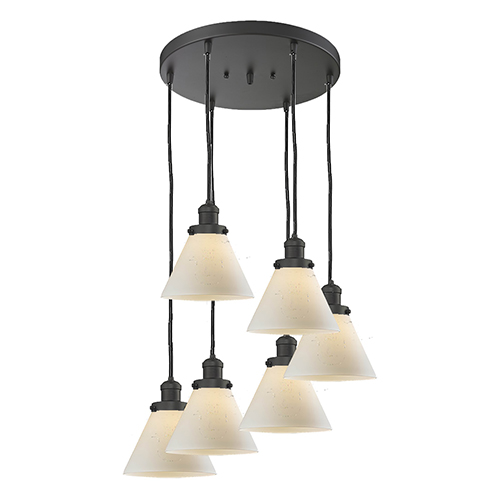 Innovations Lighting Large Cone Oiled Rubbed Bronze Six-Light Pendant with Matte White Cased Cone Glass