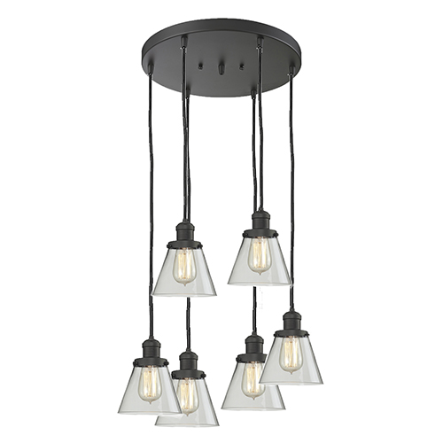 Innovations Lighting Small Cone Oiled Rubbed Bronze Six-Light Pendant with Clear Cone Glass