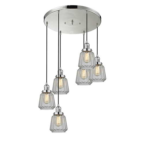 Chatham Polished Nickel Six-Light Pendant with Clear Fluted Novelty Glass