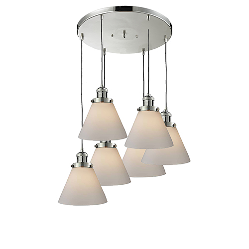 Large Cone Polished Nickel Six-Light Pendant with Matte White Cased Cone Glass
