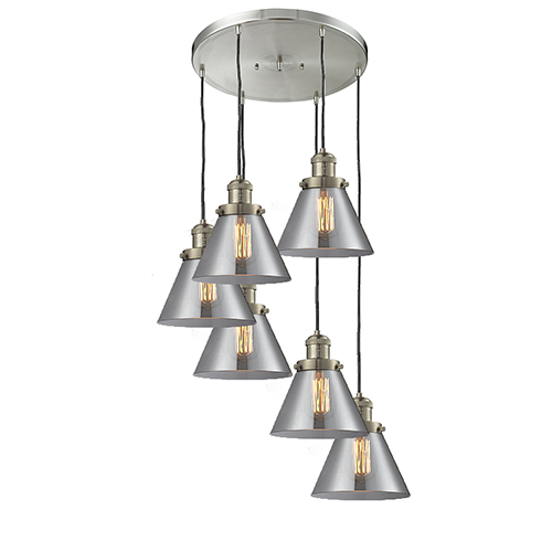 Large Cone Brushed Satin Nickel Six-Light Pendant with Smoked Cone Glass