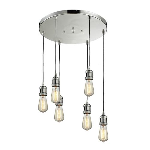 Bare Bulb Brushed Satin Nickel Six-Light Pendant