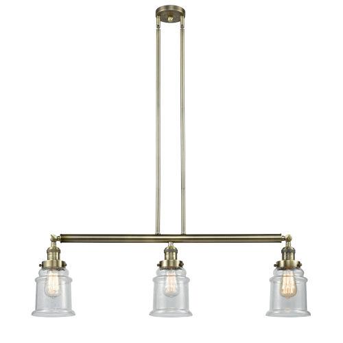 Canton Antique Brass Three-Light Island Pendant with Seedy Glass