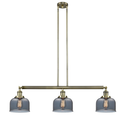 Large Bell Antique Brass Three-Light Island Pendant with Smoked Glass