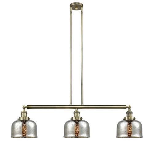 Large Bell Antique Brass Three-Light Adjustable Island Pendant