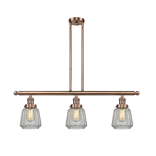 Chatham Antique Copper Three-Light LED Island Pendant with Clear Fluted Novelty Glass
