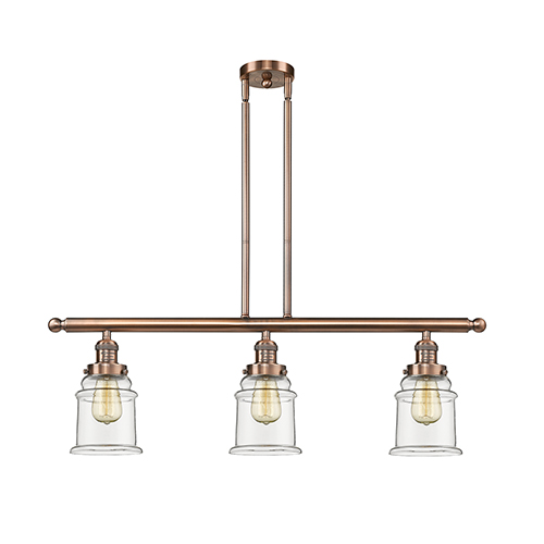 Innovations Lighting Canton Antique Copper Three-Light Island Pendant with Clear Bell Glass
