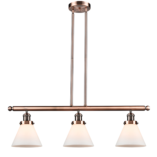 Innovations Lighting Large Cone Antique Copper Three-Light LED Island Pendant with Matte White Cased Cone Glass